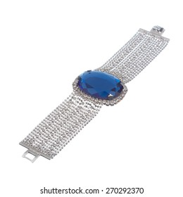 silver bracelet with big blue gem