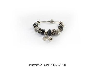 Silver bracelet with black stones isolated on white background