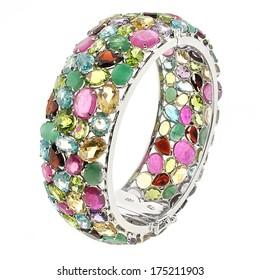 silver bracelet with gemstones