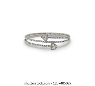 Silver bracelet isolated on the white background