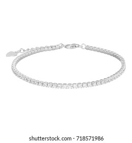 Silver bracelet, isolated on white a background