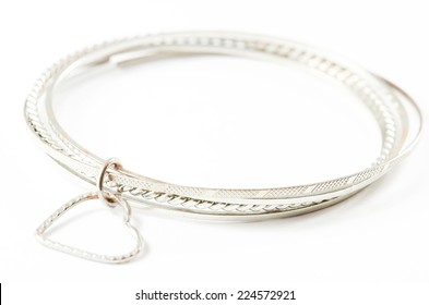 Silver bracelet isolated over white background.