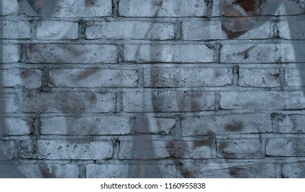 Silver brick wall with graffiti as a background