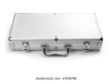 A silver briefcase isolated on a white background