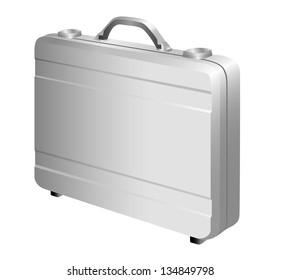 Silver briefcase on white background. Raster version
