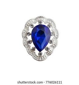 silver brooch drop with a blue stone isolated on white