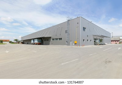 Silver building exterior of distribution warehouse depot