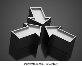 Silver business arrow icon concept rendered