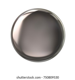 Silver button or badge 3d illustration on white background