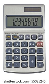 silver calculator,isolated on white with clipping path.