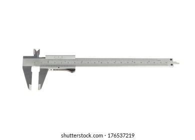 Silver caliper isolated on white background