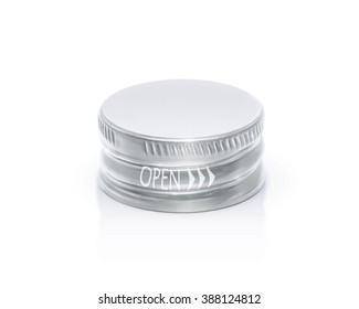 Silver cap of bottle in top view isolated on white background with clipping path