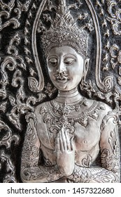Silver carving art in the temple, Thailand.