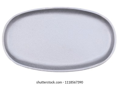 Silver Cast Iron Sizzler. Frying or Grilling Pan. Isolated Dish on White Background. For Logotype or Text Overlay.