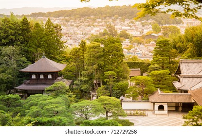 silver castle and view of kyoto city in ginkakuji temple, kyoto, japan.
