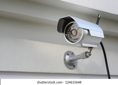 Silver CCTV Camera on the white wall