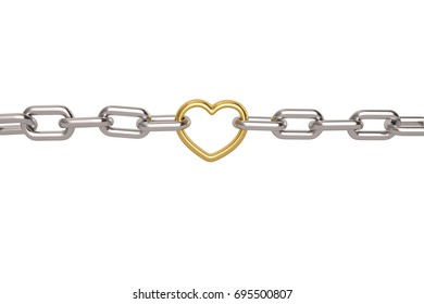Silver chain with gold heart links on white background.3D illustration.
