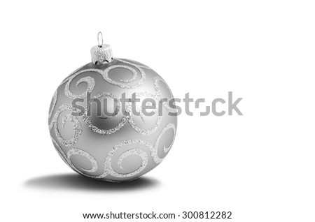 Silver christmas ball on white background