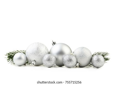Silver christmas baubles isolated on white background