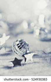 Silver Christmas composition with silver baubles
