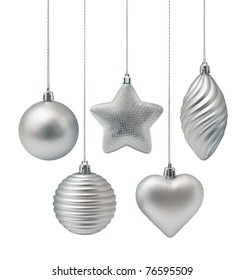 Silver Christmas decoration elements isolated on white background