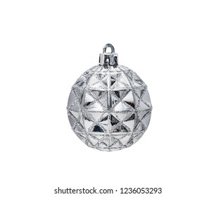 Silver Christmas hanging ball  with decoration isolated on white background