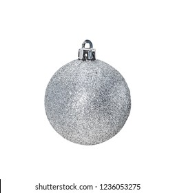 Silver Christmas hanging ball  isolated on white background