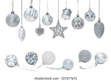 Silver Christmas New Year baubles for Christmas tree ornaments, pine, spruce, balls, stars, bells, pine cones, drums isolated on white