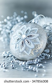 Silver Christmas ornaments (close up)
