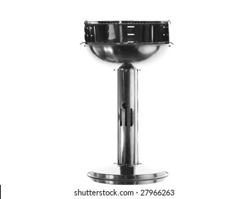 Silver (chrome) barbecue appliance (grill) isolated on white background