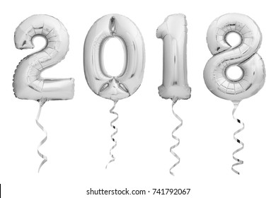 Silver chrome Christmas balloons 2018 made of inflatable balloon with silver ribbon isolated on white background