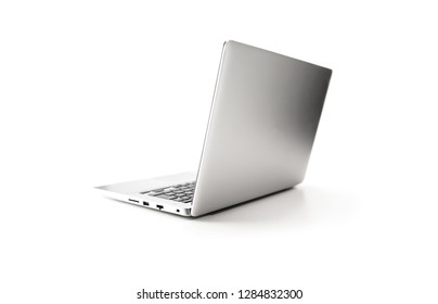 Silver or chrome laptop pc, opened,  isolated on white.