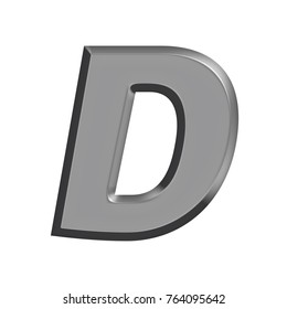 Silver chrome metal uppercase or capital letter D in a 3D illustration with a flat metal beveled edge metallic panel effect and basic bold font isolated on a white background with clipping path.