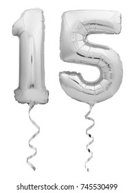 Silver chrome number 15 fifteen made of inflatable balloon with ribbon isolated on white background