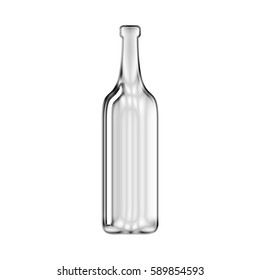 Silver Chrome Wine Bottle Icon Shiny Metallic Symbol Glossy Metal Illustration Isolated on White Background.  Includes Clipping Path for Isolation.