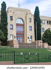 Silver City, New Mexico USA - July 23, 2007: Grant County Courthouse, built 1930 in Streamline Moderne style
