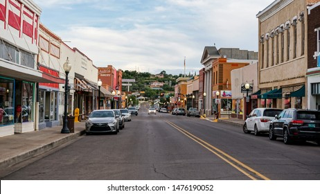Silver City, New Mexico USA - July 29, 2019: Bullard Street in downtown Silver City, looking south, a southwestern mining town with shops, stores and restaurants.