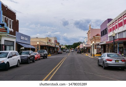 Silver City, New Mexico USA - July 29, 2019: Bullard Street in downtown Silver City, looking north, a historic southwestern mining town with shops, stores and restaurants.