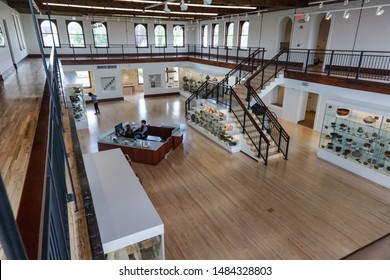 Silver City, New Mexico USA - July 30, 2019: Interior of Western New Mexico University Fleming Hall from mezzanine, now WNMU Museum, features displays of Mimbres Mogollon Prehistoric pottery