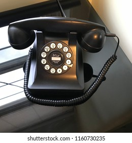 Silver City, New Mexico/USA, August 11, 2018: black modern vintage looking push button telephone