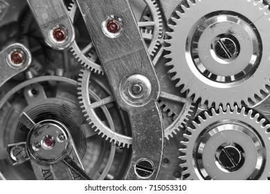 Silver Clockwork. Detail of watch machinery. Old mechanical pocket watch. Macro shot.