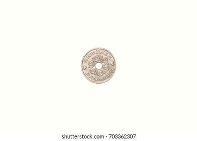 silver coin 2 crown denmark with hole