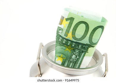 Silver coin bank with Euro banknote in front of a white background