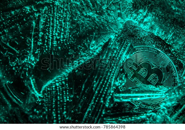 The silver coin of cryptocurrency Bitcoin is freezing in the green ice. The concept of the exchange in winter. Bitcoin virtual currency coin. Bitcoin in danger. Business concept