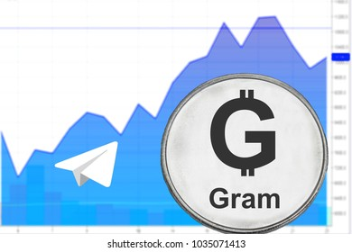 Silver coin gram from telegram on the background a financial chart. Cryptocurrency ton.