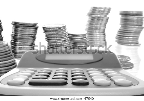 Silver Coins and Calculator