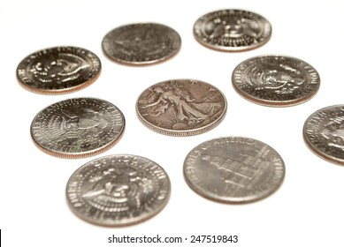 Silver Coins, Dollars and Half Dollar, Money