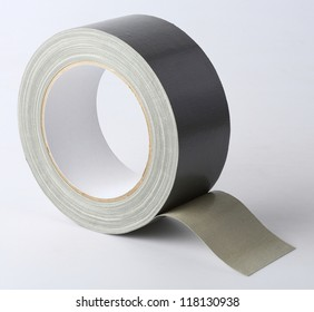 Silver color cloth tape (Duct Tape) isolated on white