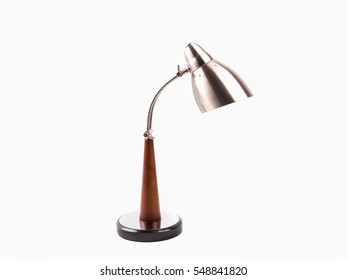 Silver color desk lamp isolated on white background.