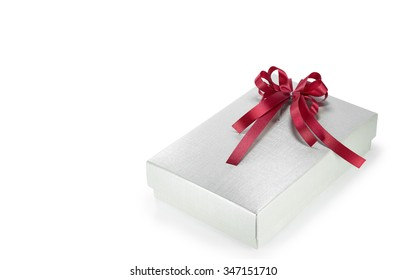 Silver color of gift box with red ribbon bow isolated on white background(have a space for text)